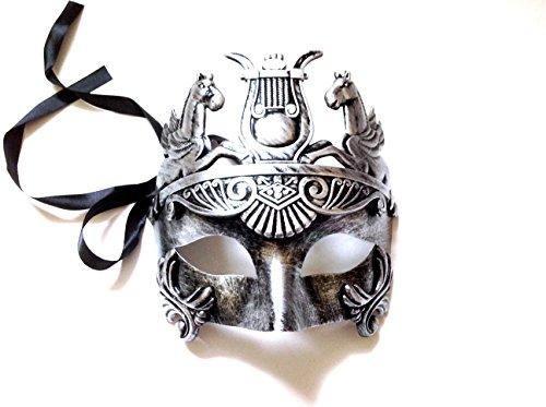 Gladiator Mask Movie (Mens Roman Gladiator Thor Mask Venetian Horse Metallic Silver Black)