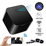 Wireless Spy Hidden Camera WiFi Wall Charger Cameras- 1080P HD Night Vision - Supports 128GB SD Memory Card-Large Lens - Alarm System- Charging Phones- Motion Detection-Support iPhone/Android App