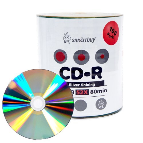 Smartbuy 100-disc 700mb/80min 52x CD-R Shiny Silver Top Blank Recordable Media Disc