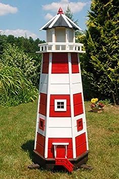 Wunderschöner großer XXL Leuchtturm aus Holz mit SOLAR Beleuchtung 1,40 m, rot/weiss, Solarbeleuchtung, Gartendeko, LED