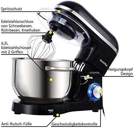 Aucma - Robot de cocina (1400 W, con bol de acero inoxidable de 6, 2 L, amasador, batidor, varillas y protección para salpicaduras, 6 velocidades, silencioso): Amazon.es