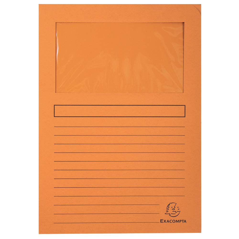 100 St/ück Exacompta 50109E Fenstermappen Packung gelb mit Organisationsdruck aus Recycling-Karton 120 g Din A4 forever