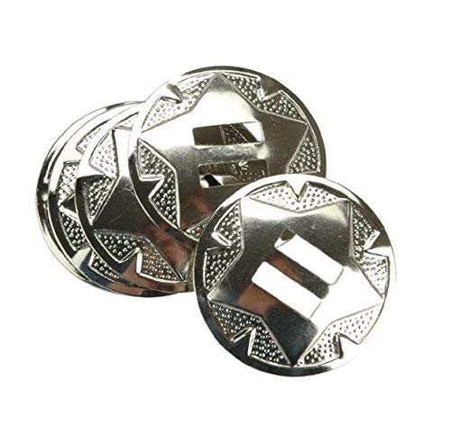 Set of 4 Western Star Bright Silver Slotted Round Concho 1-1/2″ Leather Craft