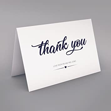 50 X Personalised Wedding Thank You Cards Folded Format