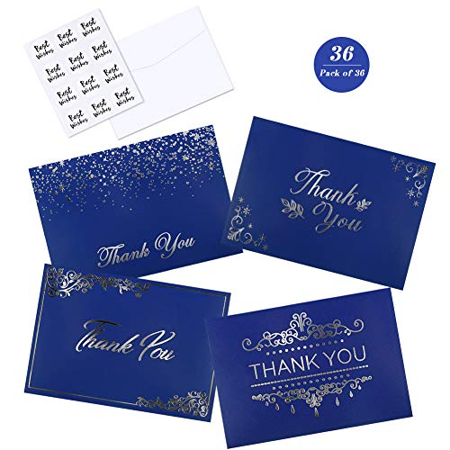 Thank You Notes, 36 Thank You Cards with Navy Blue & Silver, Blank Thank You Cards Set with Envelopes Notes Cards for Thanksgiving Day, Wedding, Business, Baby Shower and Gift Cards, 4x6 Inches