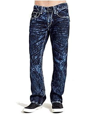 Men's Straight Leg Relaxed Fit Mega T w/ Flap Jeans in Indigo