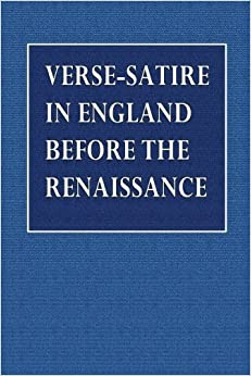 Verse-Satire in England Before the Renaissance