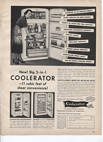 Refrigerator Antique (Coolerator New Big 2-in-1 Refrigerator 11 Cubic Feet Of Sheer Convenience Perfected Automatic Defrost Plus New Roll-Out Shelves 1953 Vintage Antique Advertisement)