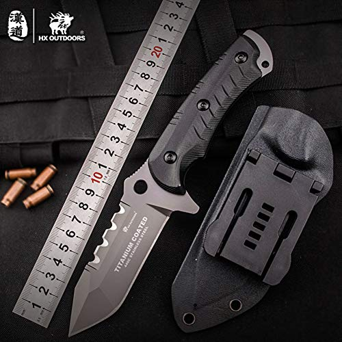(HX OUTDOORS - fixed blade tactical knives with sheath,Tanto Blade outdoor survival knife,Special forces tactical knife,Ergonomics G10 anti-skidding Handle (SNOW LEOPARD))