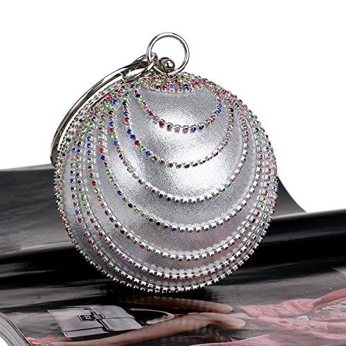 Handbag Party Women' Rhinestone Wedding Clutch ZAKIA Bag Shape Silver Bling Round Purse Colorful Evening AvvZ8qn