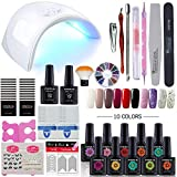 Coscelia 10 Colors Gel Nail Polish Starter Kit 36W Pink LED Nail Dryer