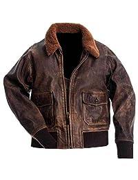 G-1 Flight Jacket Men Real Leather│Aviator G-1 Flight Navy Bomber Jacket Men