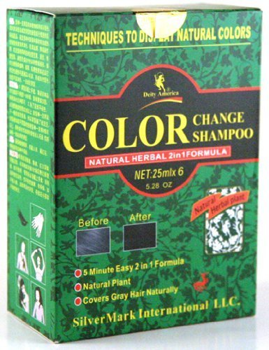 Color Change Shampoo - Natural Herbal 2-in-1 Formula (6 25ml Evelopes Per Box) - Box