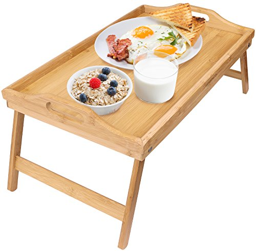 Greenco Bamboo Foldable Breakfast Table, Laptop Desk, Bed Table, Serving Tray]()
