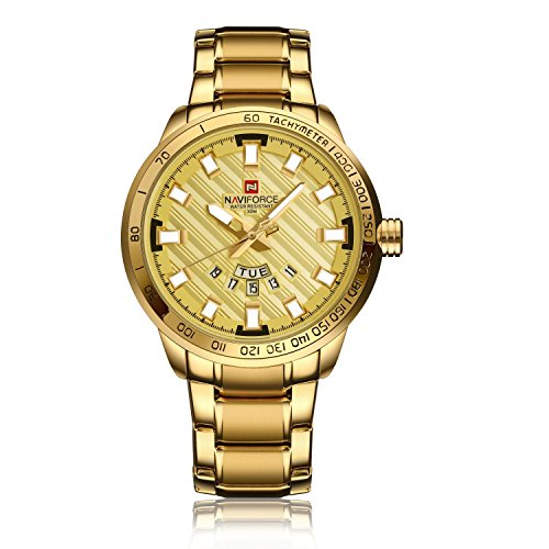 Mens Gold Plated Analog Quartz Waterproof Stainless Steel Wrist Watch with Classic Design Calendar (Gold Gold Plated Wrist Watch)