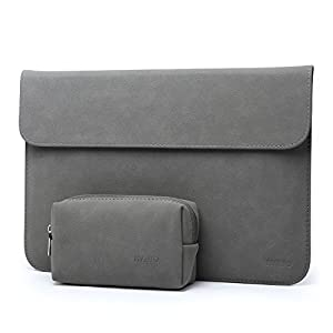 "HYZUO 13 Inch Waterproof Laptop Sleeve Protective Case for 13"" New MacBook Pro Retina 2017 2016/ Surface Pro 2017/ Surface Pro 4 Pro 3 / Dell XPS 13 with Carrying Bag, Faux Suede Leather-H Dark Gray"