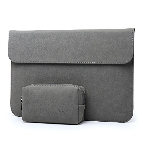 HYZUO Suede 13 Inch Waterproof Laptop Sleeve Protective Case for 13Inch New MacBook Pro Retina 2017 2016/ Microsoft Surface Pro 2017/ Surface Pro 4 Pro 3/ Dell XPS 13 with Carrying Bag, H Matte Gray