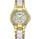 Women Gold Watches KINGSKY Brand Rhinestone Band Japan Quartz Movement Fashion Ladies Wrist Watch