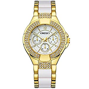 Women Gold Watches KINGSKY Brand Rhinestone Band Japan Quartz Movement Fashion Ladies Wrist Watch