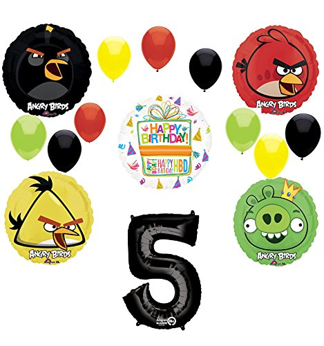Angry Birds Party Supplies 5th Birthday Balloon Bouquet