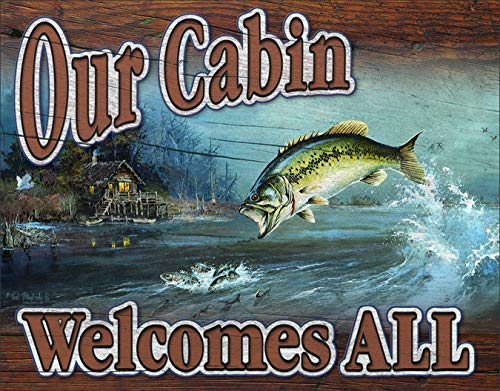 Desperate Enterprises Our Cabin Welcomes All Tin Sign, 16