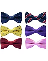 6pc Adjustable Pre-tied Mens Bow Tie Accessory Set by Zakka Republic (MBT-02)