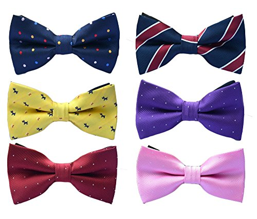 6pc Adjustable Pre-tied Mens Bow Tie Accessory Set by Zakka Republic (MBT-02) (Tie Bow Band X-long)