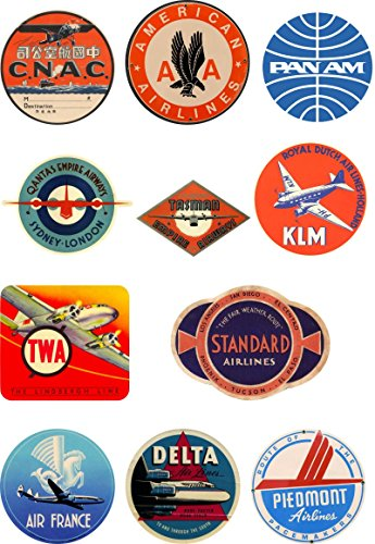 Vintage Style Airline Travel Suitcase Luggage Labels Set Of 11 vinyl stickers set 1