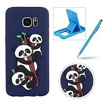 Soft TPU Case for Samsung Galaxy S7 Edge,Dark Blue Flexible Rubber Case for Samsung Galaxy S7 Edge,Herzzer Stylish Cute Panda Pattern Shock-Absorbing Scratch Resist Silicone Bumper Back Cover