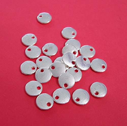BeadsTreasure 30 Pcs- Silver Plated Flat Round Disk Stamping Blanks Tag Charms for Jewelry Making.