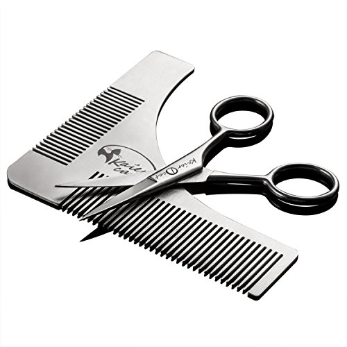 Kaiercat Stainless Steel Beard Shaping Tool and Scissors Kit for Beard Trimming and Grooming