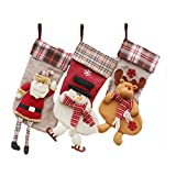 (3 Pack) Classic Christmas Stockings 18'' Cute Santa's Toys Stockings Plush 3D Applique Style Felt Christmas Stockings, Detailed Designs, Embroidered Edges, Hanging Loops (Stocking-Sante Family)