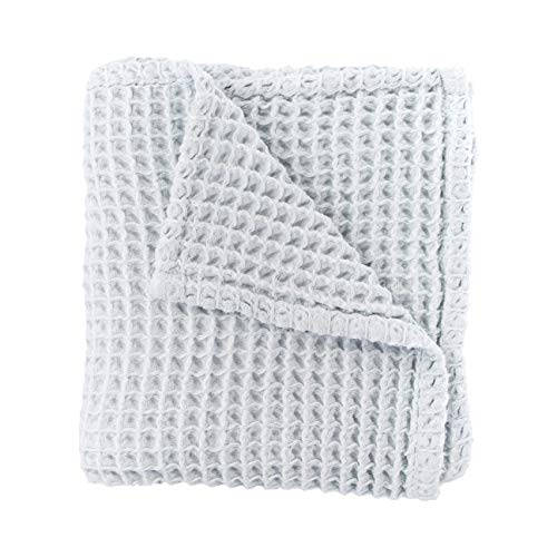 Cloud Blanket in Pale Blue (A Very Light Cool Grey Color) - Made from Soft and Lofty Waffle Gauze - 100% Cotton - 36