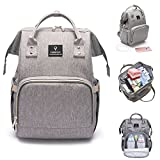 Baby Diaper Bag Backpack, Large Capacity Waterproof Mommy Nappy Bag for Women Toddler Newborn, Multifunction Travel Organizer with Stroller Straps, USB Charging Port, Perfect Mother's Day Gifts - Grey