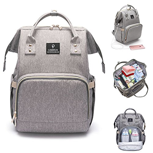 Baby Diaper Bag Backpack, Large Capacity Waterproof Mommy Nappy Bag for Women Toddler Newborn, Multifunction Travel Organizer with Stroller Straps, USB Charging Port, Perfect Mother's Day Gifts – Grey