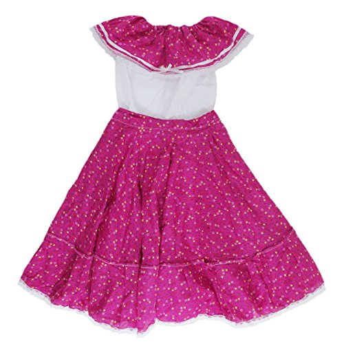 Mexican Clothing Co Girls Mexican Adelita Costume Blouse n Skirt Poplin S(7) Pink 7126