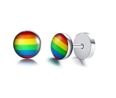 Pendientes de arco iris con mancuernas redondas de acero inoxidable color negro acero: Amazon.es: Joyería