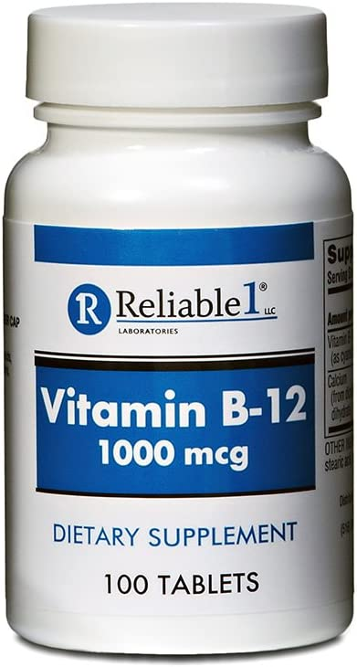 RELIABLE 1 LABORATORIES Vitamin B-12 1000 MCGSupplement (100 Tablets, 1 Bottle) - Helps Keep Blood and Nerve Cells Healthy
