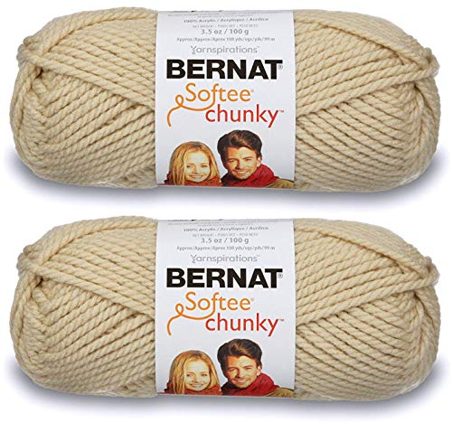 - 2-Pack - Bernat Softee Chunky Yarn, Linen, Single Ball