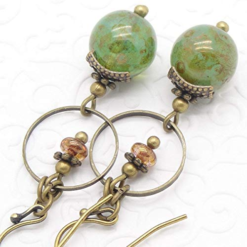 - Green Dangle Earrings in Bohemian Marbled Glass