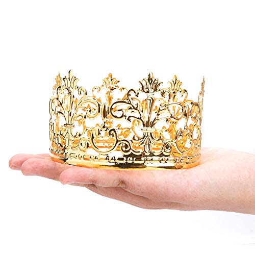 Little Vintage Crown Cake Topper Royal Themed Baby Shower Decorations Princess And Prince Headpiece (Golden) -