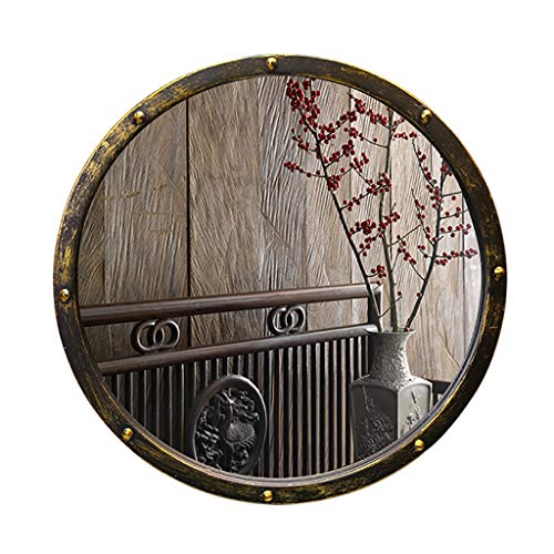 (Round Bathroom Wall Mirror with Iron Mirror Frame | Premium Silver Backed Glass Panel Vanity, Bedroom, or Bathroom | Luxury Mirrored Ø500MM)