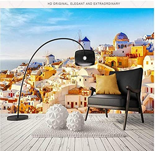 Djskhf 3D壁紙リビングルーム便利屋モダン壁紙背景壁画ティッシュペーパーギリシャサントリーニ愛海 400X280Cm