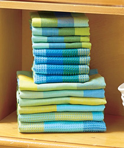 14-Pc-Blue-Green-Woven-Cotton-Kitchen-Plaid-Check-Towel-Dishcloth-Sets