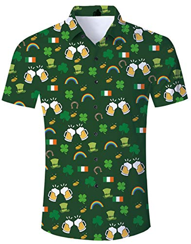 Fanient Juniors Mens Boys Green Floral Shirt Short Sleeve Saint Patrick's Day Costume Tropical Button Down Shirt Casual Hawaiian Aloha Shirt ()