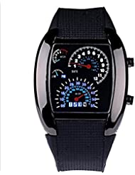 WPOS® Cool RPM Turbo Blue & White Flash Digital LED Sports Watches Gift Car Meter Dial for Men