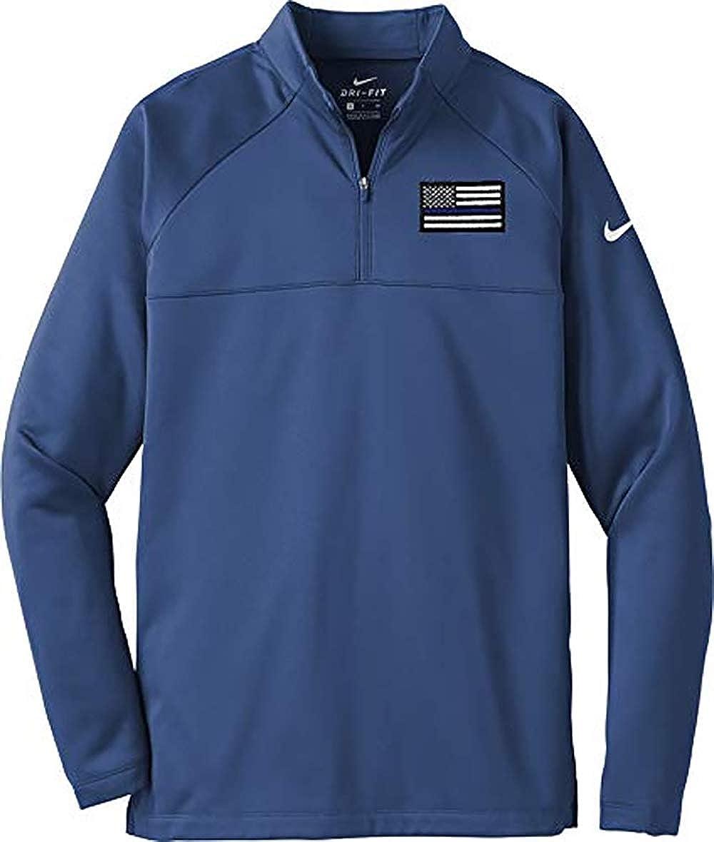 Blue Line Flag Nike Therma Fit 1//2 Zip Fleece NKAH6254