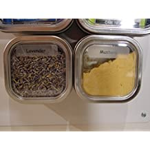 Bravada Square Non-Magnetic Spice & Storage Tins - Secure Snap Pins - BPA Free - Create a Magnetic Spice Rack with Flexible Magnetic Sheets, Magnetic Strips or Magnet Rounds (GST/HST included in Price) (4, 8 oz (230 ml))