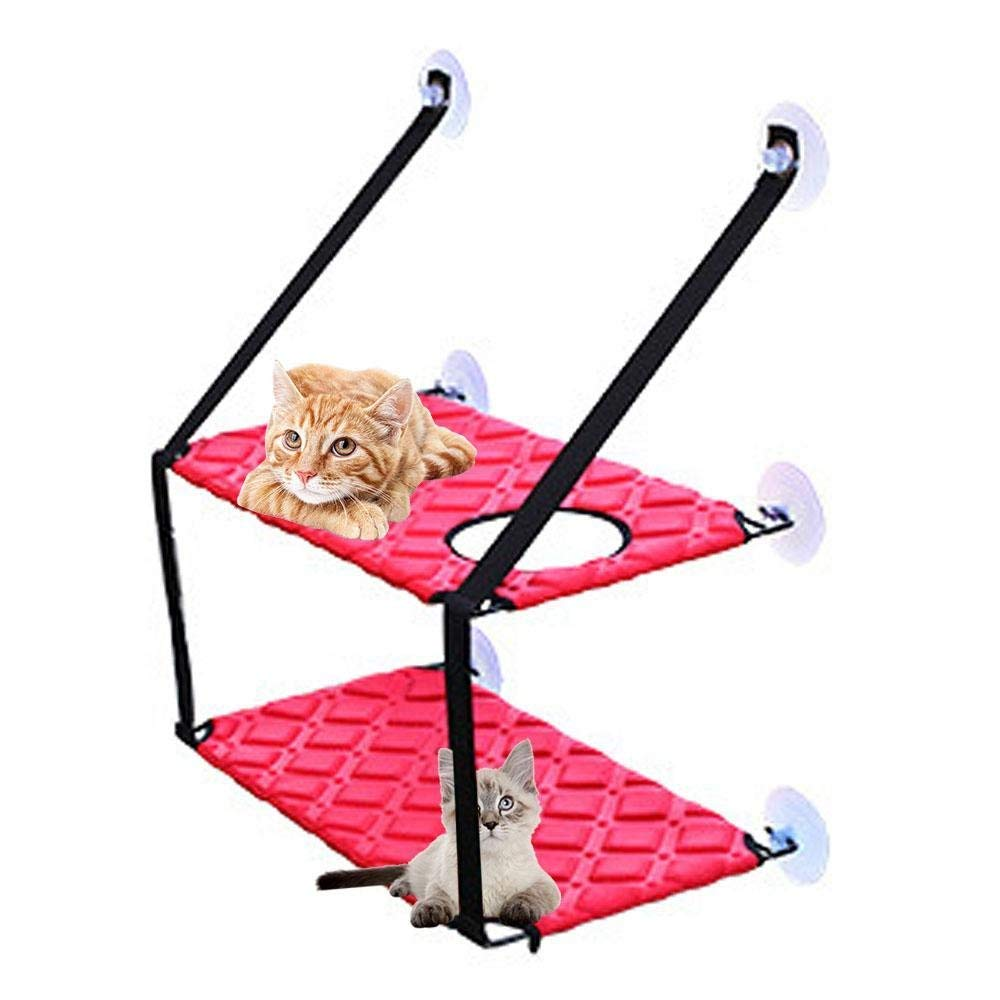 Red GPFDM Cat Bed Washable Big Cat Window Hammock, Window-Mounted Cat Bed Sunny Seat With 6 Suction Cups Holds Up To 88Lbs Pets Flexible Durable Wall Hammock Beds For Cats,Red