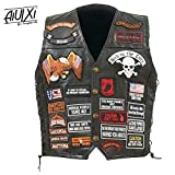 AiUIXi1991-Mens Black Genuine Leather Motorcycle V_E_S_T w/ 42 Patches US Flag Ea_gle Biker 201X - BLACK (L)